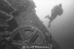 Lake Superior diver on shipwreck.  Black and white image ... by Scott Reynolds