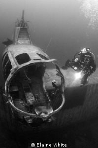 Small Helicopter and diver in Capernwray. Converted to bl... by Elaine White