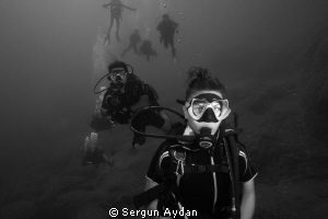 my friends from Demre  Blue Cave Dive Point by Sergun Aydan