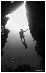 Diver in Silhouette. by Keith Savill