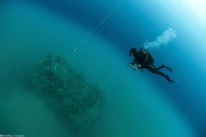 marine biologist over a small artificial reef emerging of... by Mathieu Foulquié