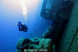 Lorrie on the Zenobia Wreck. Larnaca, Cyprus. by Topher Jones