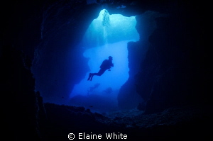 Diver in Blue Hole Gozo by Elaine White