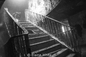 Staircase inside the Karwela, Gozo Converted to black & ... by Elaine White