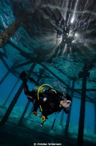 a diver under a jetty with the sun in the background by Christian Schlamann