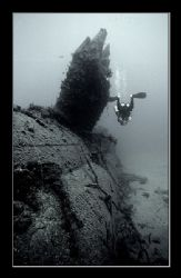 Tec diver on the conning tower of the Scire. The sub was ... by Johannes Felten