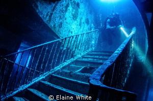 Down the staircase inside the Karwella by Elaine White