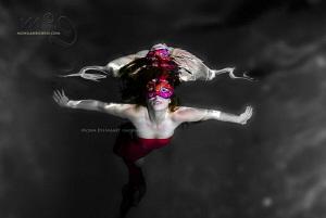 RED pool mermaid by Mona Dienhart