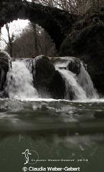 """""""Schiessentümpel"""" waterfall in winter by Claudia Weber-Gebert"""