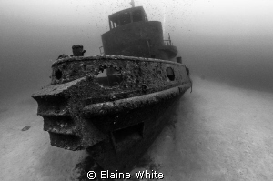 Tug Boat The Rozi.....Appears like a ghost ship on the se... by Elaine White