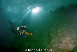 Using cave diving procedures, a technical diver winds up ... by Michael Grebler