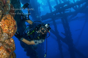 Camera Man in Shark Platform, Isla Lobos Mexico by Alejandro Topete