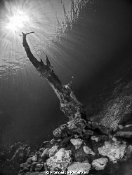 A finger to the light. Capo D'acqua's lake. by Francesco Pacienza