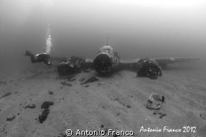 II WORD WAR JUNKER 88 AIRPLANE IN BLACK&WHITE by Antonio Franco