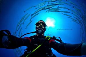 Self portrait with Barracudas Shark ^Yolanda reef  by Adolfo Maciocco