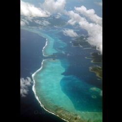 French Polynesia. Fringe reef, flying from Tahiti to Bora... by Christopher Ward