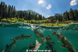 mountain lake in Austria ,Saiblingcity with the Divincenter. by Michael Weberberger