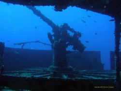 Bow Gun on C55 Minesweeper, Cancun, MX – Shot from inside... by David Serepca