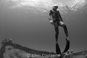 Free  Freediver at Ex-USS Kittiwake by Ellen Cuylaerts