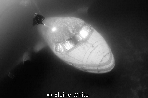 Capernwray plane with diver. Cockpit lit up with remote t... by Elaine White