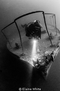 Diver on the bow of the Podsnap in Capernwray by Elaine White