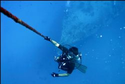 Safety stop ascending from Mahi wreck dive west shore Oah... by Glenn Poulain