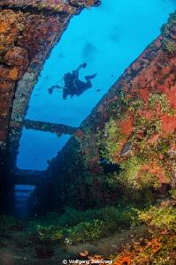 Viewing outside the Rio de Janeiro Maru in Chuuk. by Wolfgang Zwicknagl