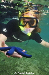 Playing with the blue sea star by Daniel Poloha