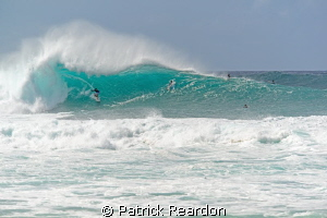 Big wave action.  Pipeline, North Shore, Oahu. by Patrick Reardon