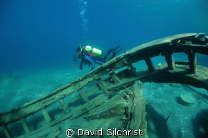 Diver swimming past the stern railing of the steam tug ' ... by David Gilchrist