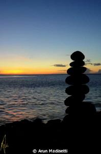 sunset and standing stones by Arun Madisetti