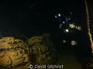 Engine room exploration, Kanshu Maru, Truk Lagoon by David Gilchrist