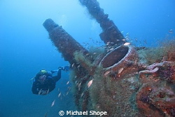 Diver on the U -352 wreck off the coast of NC by Michael Shope