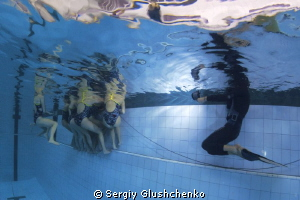 Synchronized swimming. During the workout. by Sergiy Glushchenko
