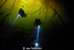 A dark reprieve from the storm. Carwash Cenote, Tulum, Me... by Lee Newman