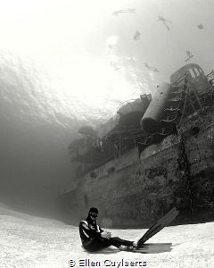 Mermen do exist!  Freediver at Ex-USS Kittiwake by Ellen Cuylaerts