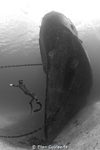 FlyFreediver bow EXUSS Kittiwake Mark Tilley EX-USS EX USS