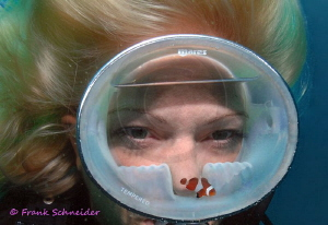 """The Aquarium""; Model: Tanja; Nikon D2x, f2.8/10.5mm fish... by Frank Schneider"