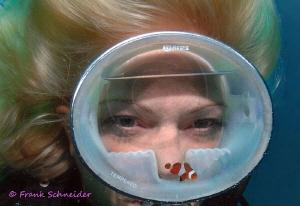"""""""The Aquarium""""; Model: Tanja; Nikon D2x, f2.8/10.5mm fish... by Frank Schneider"""