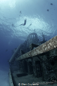 Freedivers in action at the Ex-USS Kittiwake. They call h... by Ellen Cuylaerts