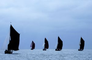 Taken during the Thames Barge Race on the Thames in 2000.... by Len Deeley