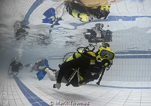 Full-face mask try out in the pool. by Mark Thomas