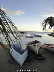 View from the Sea Side Terrace on Fisherman's Bay, Curacao by Rickey Ferand