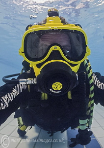 A selfie - full-face mask. by Mark Thomas
