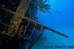 Ships wheel on the Hilma Hooker in Bonaire N.A. taken wit... by Michael Shope