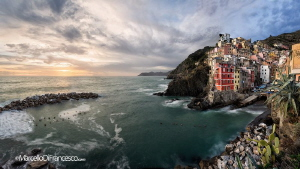 Riomaggiore winter sunset by Marcello Di Francesco