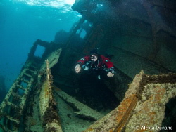 Telamon Wreck and Diver by Alexia Dunand