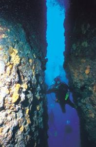 Divers crossing an underwater canyon,Zakynthos, Greece,Ni... by Karelas George