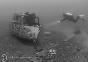 Diver on the Candida, Capernwray. by Mark Thomas