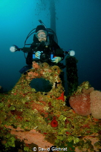 Diver/Photographer at the bow of the El Aguila wreck, Roa... by David Gilchrist